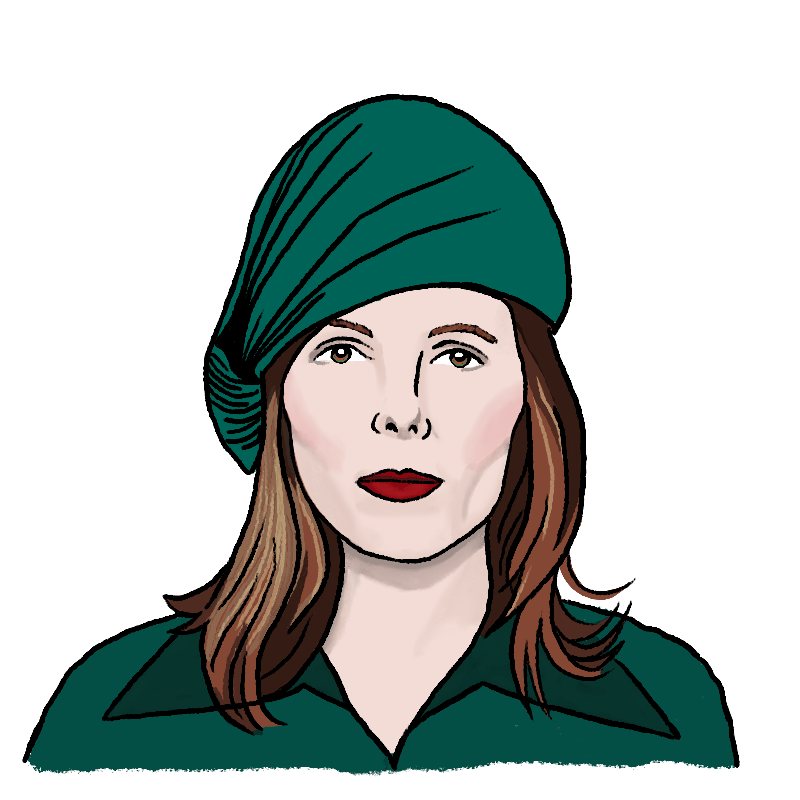 A woman, Bethany Wrede Peterson, is dressed in green is looking straight ahead
