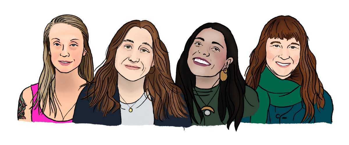 Illustrations of four Canadian Doulas looking at you