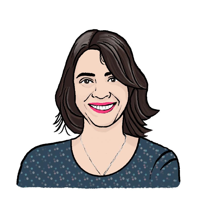 A cartoon sketch of a woman, Zeva Bellel, is smiling
