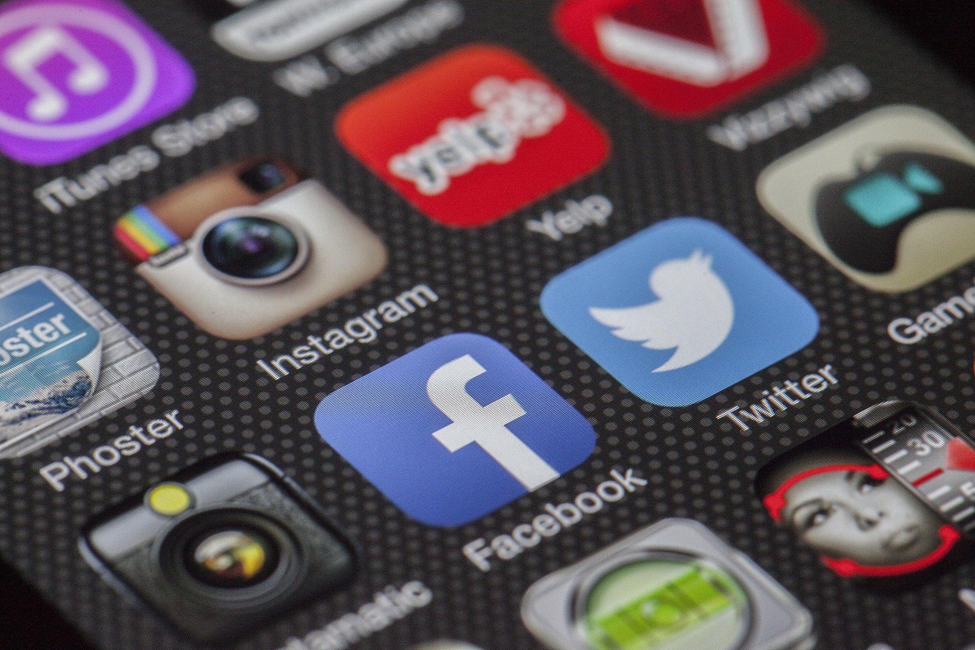 social media apps on a phone screen