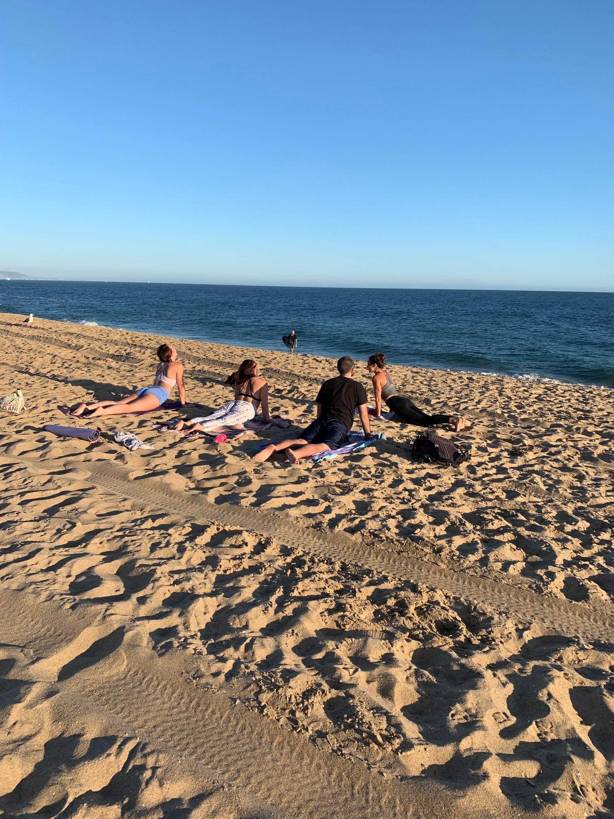 Kallie Klug Yoga class at the beach
