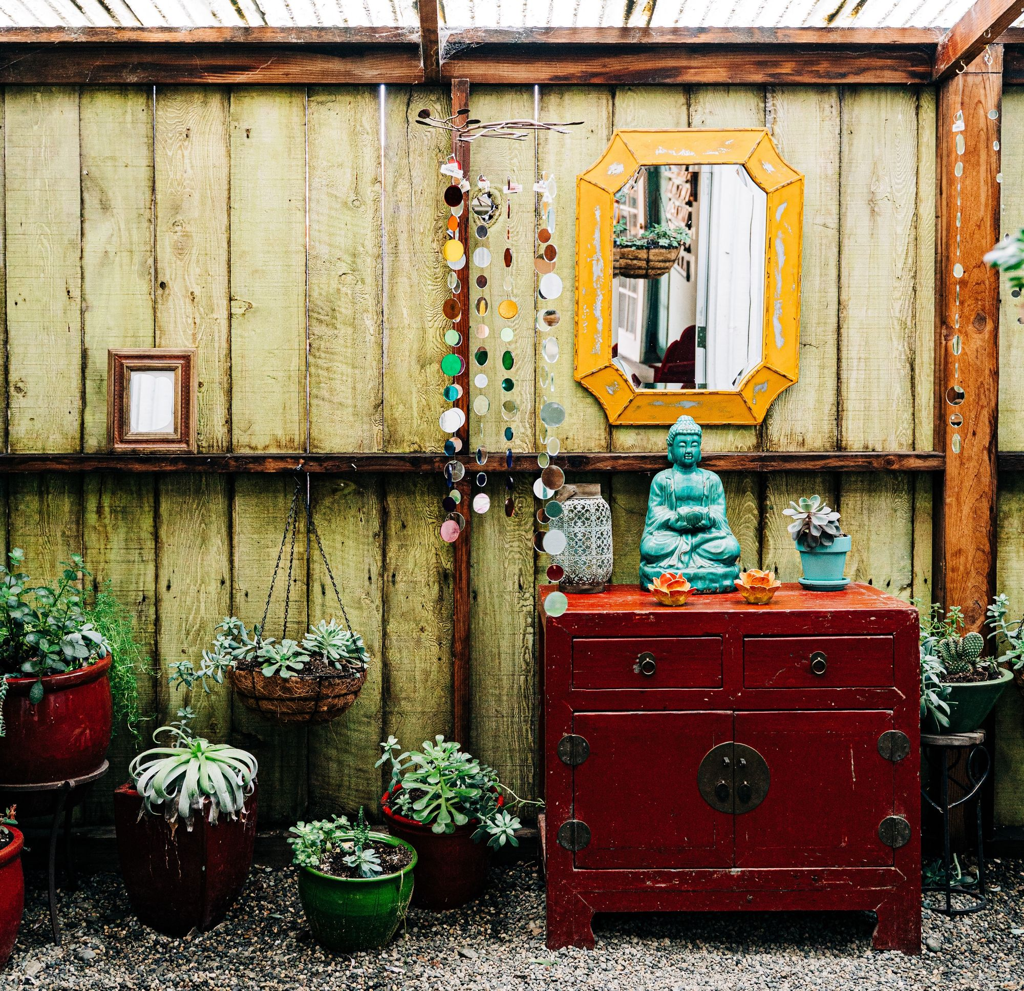 Small business with buddha statue and zen vibes